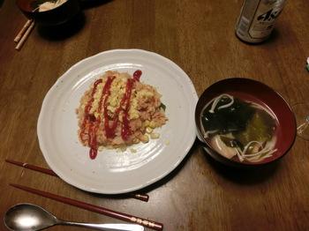 完成したスープとオムライス.JPG